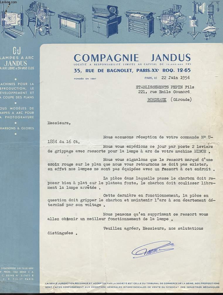 1 LETTRE ANCIENNE : COMPAGNIE JANDUS - LAMPES A ARC JANDUS