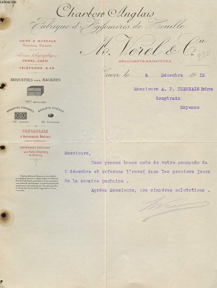 1 FACTURE ANCIENNE - CHARBON ANGLAIS - FABRIQUE D'AGLOMERES DE OUILLE - M. VERCEL ET CIE