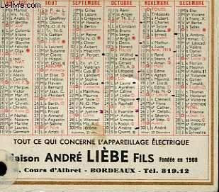 CALENDRIER DE POCHE - MAISON ANDRE LIEBE FILS