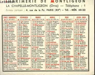 CALENDRIER DE POCHE - LA CHAPELLE MONTLIGEON