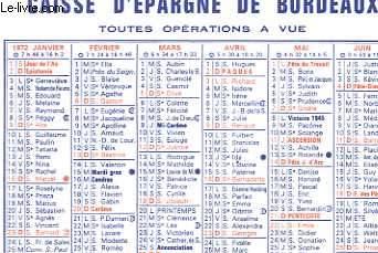 CALENDRIER DE POCHE - CAISSE D'EPARGNE DE BORDEAUX