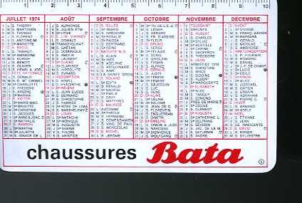 CALENDRIER DE POCHE - CHAUSSURES BATA