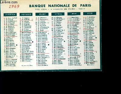 CALENDRIER - BANQUE NATIONALE DE PARIS