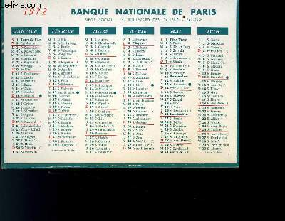 CALENDRIER - BANQUES NATIONALE DE PARIS