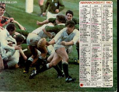 CALENDRIER - ALMANACH DES P.T.T. - RUGBY