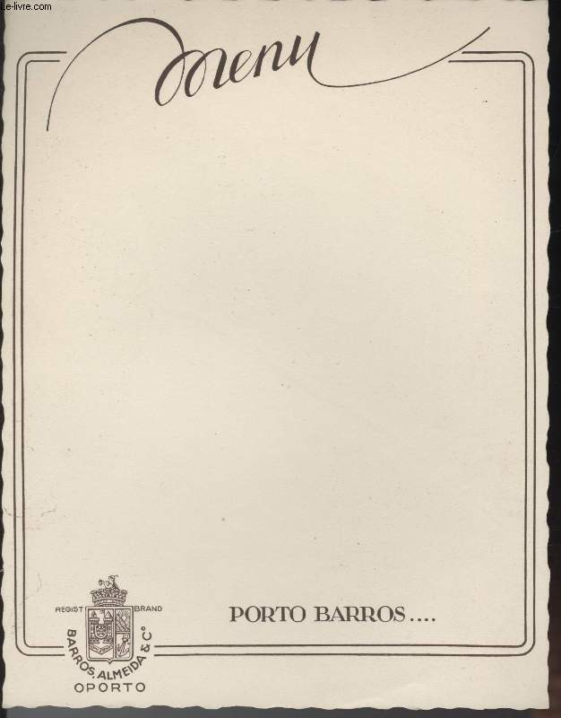 MENU - PORTO BARROS