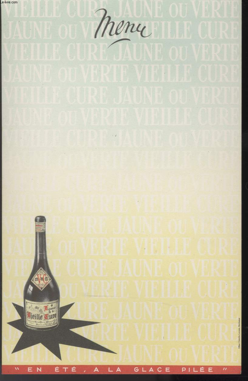 MENU - VIEILLE CURE