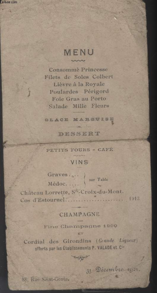 MENU - REVEILLON