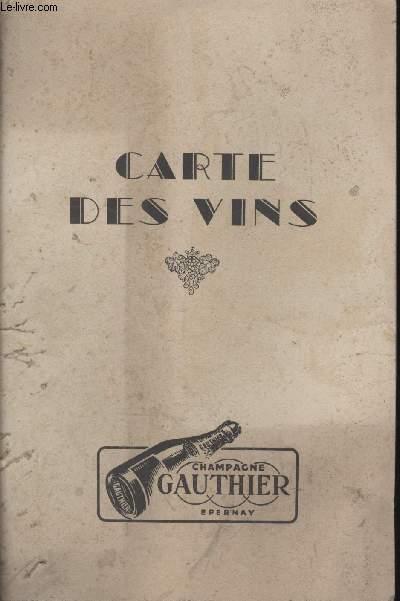 1 CARTE DES VINS - CHAMAPGNE GAUTHIER