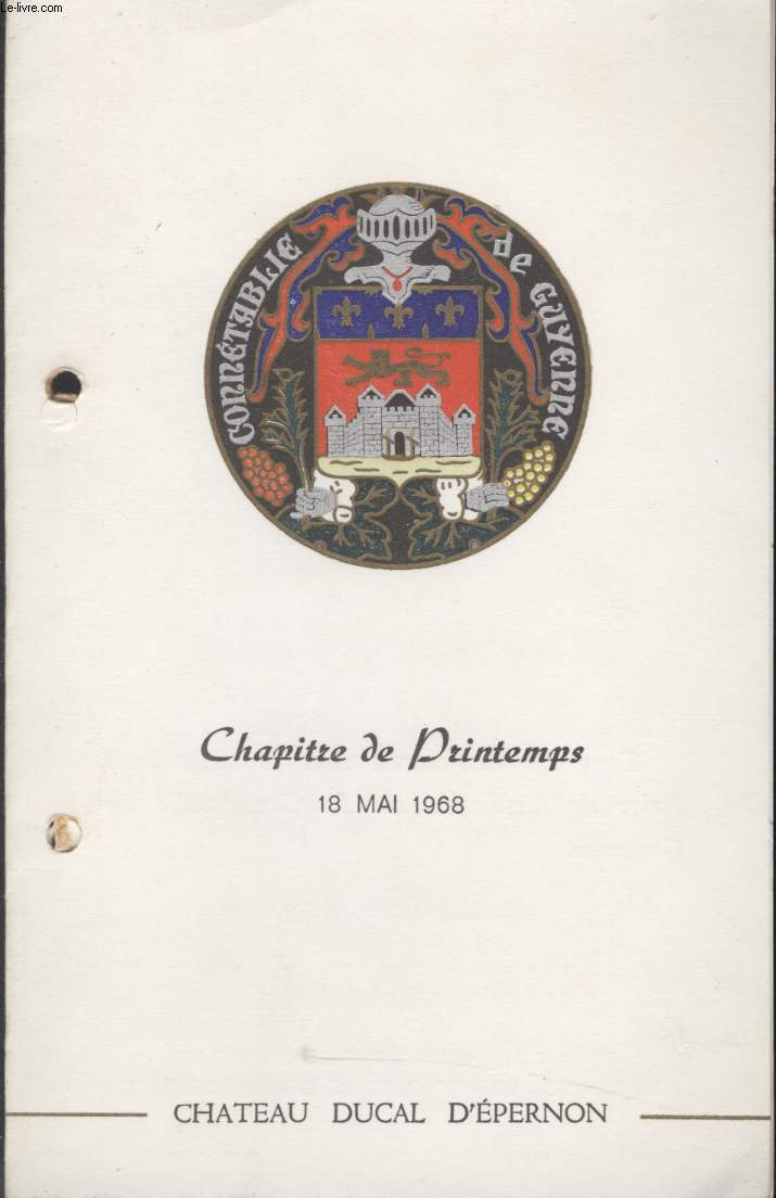 MENU - CHAPITRE DE PRINTEMPS