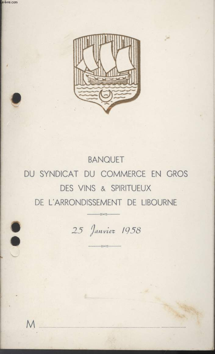 MENU - BANQUET DU SYNDICAT DU COMMERCE EN GROS