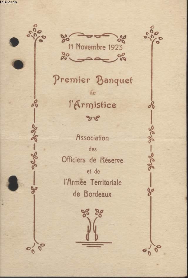 MENU - PREMIER BANQUET DE L'ARMISTICE