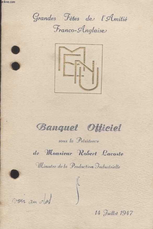 MENU - GRANDES FETES DE L'AMITIE FRANCO-ANGLAISE