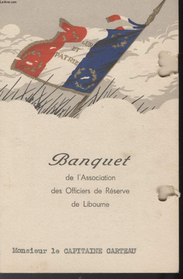 MENU - BANQUET DE L'ASSOCIATION DES OFFICIERS DE RESERVE DE LIBOURNE