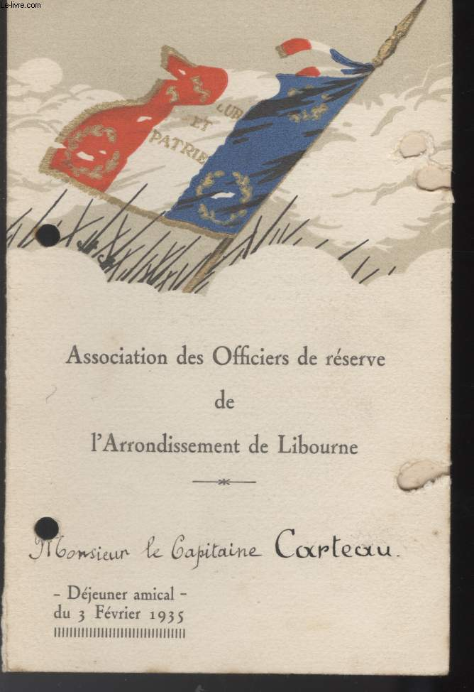 MENU - ASSOCIATION DES OFFICIERS DE RESERVE DE L'ARRONDISSEMENT DE LIBOURNE