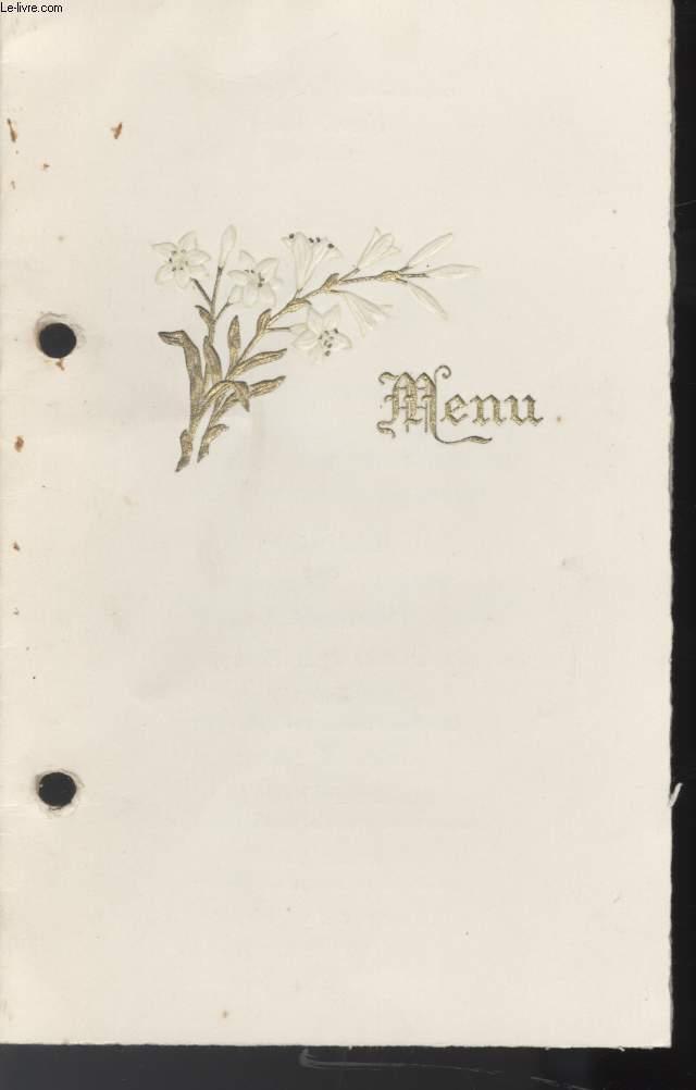menu communion solennelle de achat archives vieux papiers ref r100013066 le. Black Bedroom Furniture Sets. Home Design Ideas
