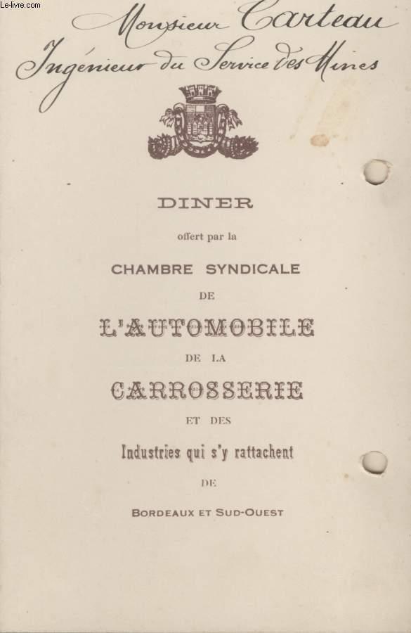 MENU - CHAMBRE SYNDICALE DE L'AUTOMOBILE