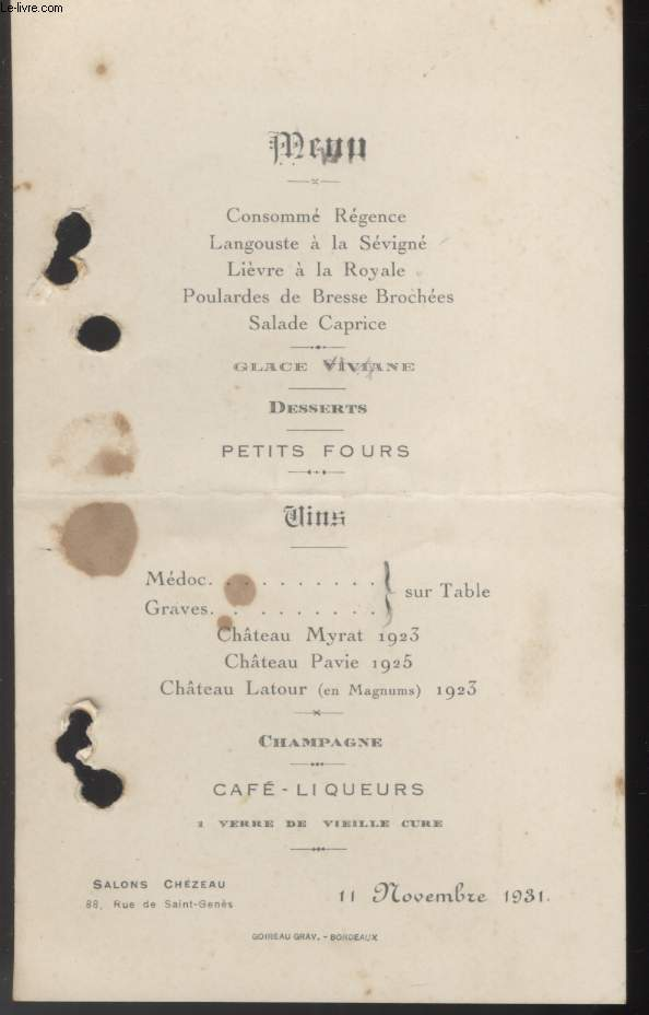 MENU - SALON CHEZEAU