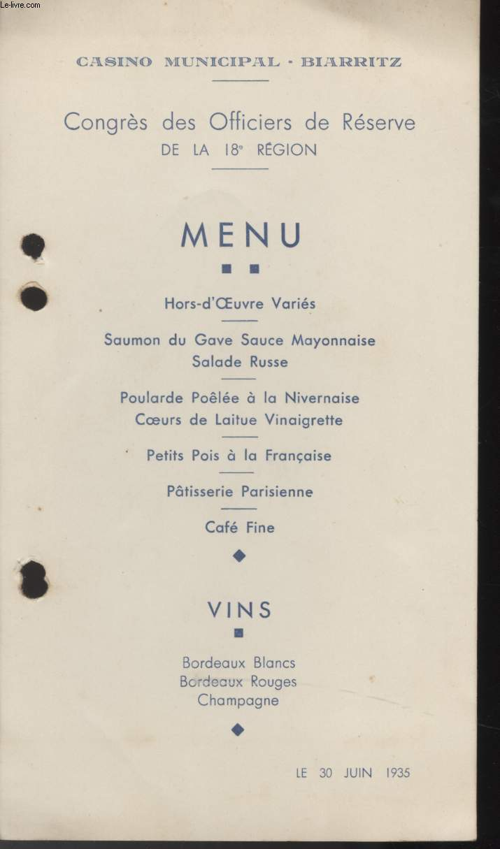 MENU - CASINO MUNICIPALE - BIARRITZ