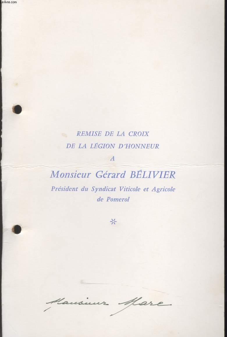 MENU - REMISE DE LA CROIX DE LA LEGION D'HONNEUR