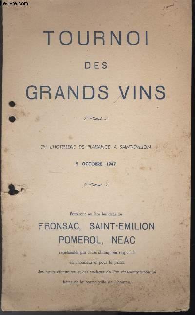 MENU - TOURNOIS DES GRANDS VINS