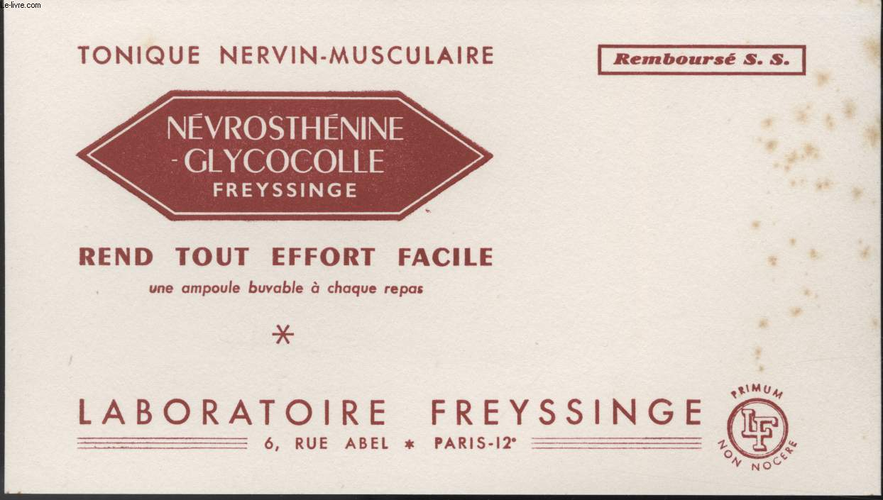 buvard nevrosthenine glycocolle de laboratoire freyssinge achat archives vieux papiers. Black Bedroom Furniture Sets. Home Design Ideas