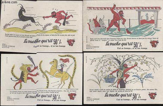 BUVARDS - 1 LOT DE 10 BUVARDS DESSINES EN COULEURS - TRAVAUS D'HERCULE