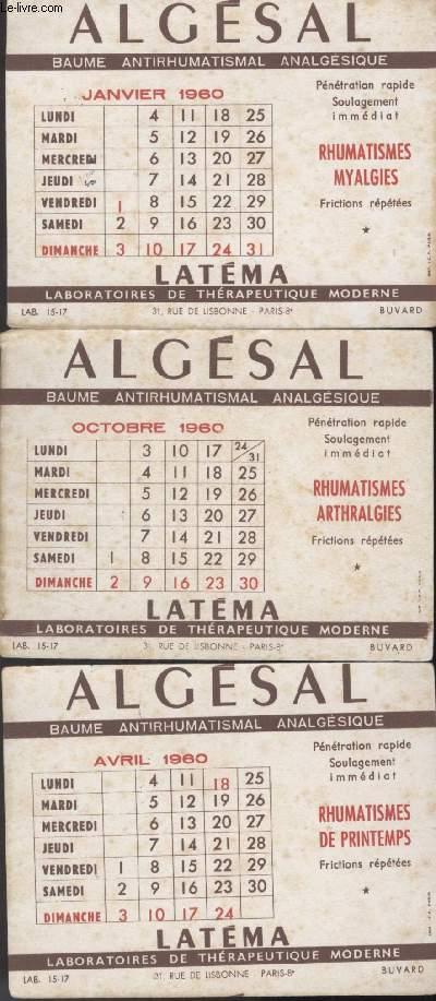 BUVARDS - 1  LO DE 3 BUVARDS  - ALGESAL - BAUME ANTIRHUMATISMAL ANALGESIQUE
