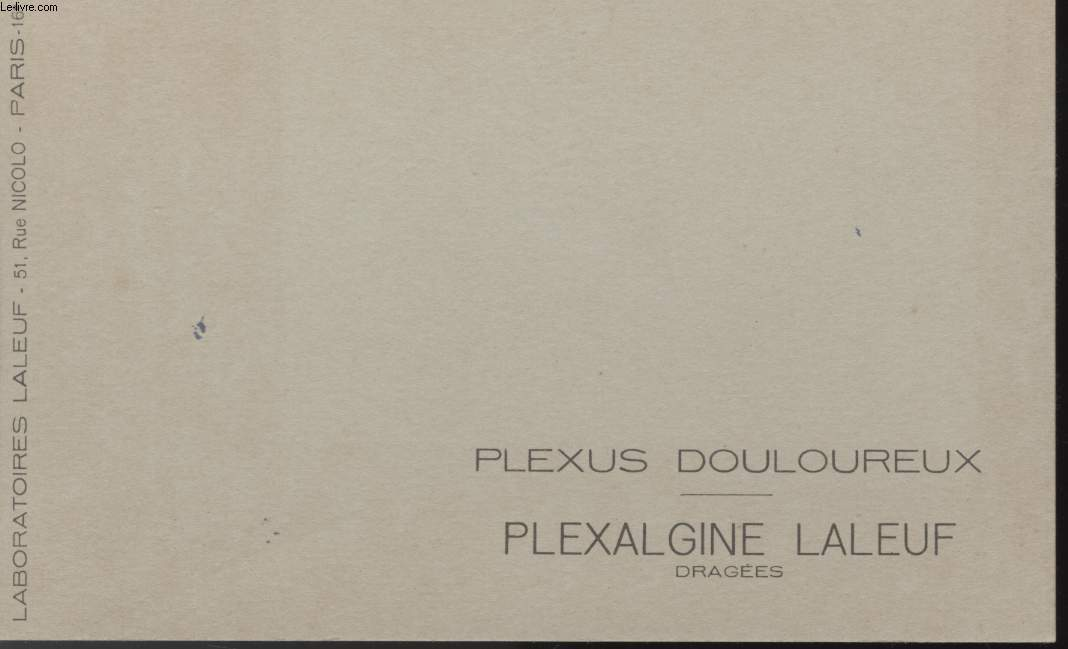 BUVARD - PLEXUS DOULOUREUX - PLEXALGINE LALEUF