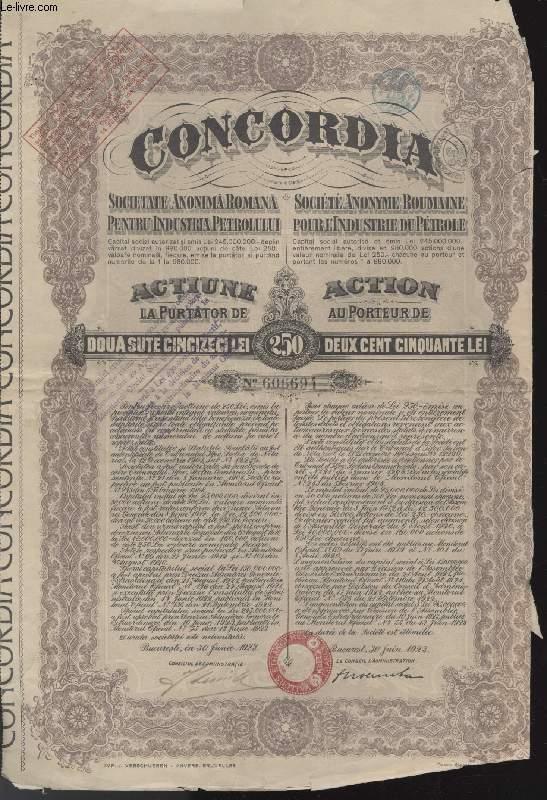 ACTION AU PORTEUR DE DEUX CENT CINQUANTE LEI - CONCORDIA