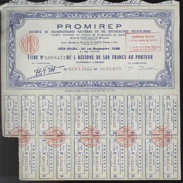 TITRE NUMEROTE DE 5 ACTIONS DE 500 FRANCS AU PORTEUR - PROMIREP