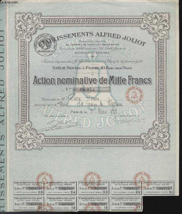 1 ACTION NOMINATIVE DE MILLE FRANCS - ETABLISSEMENT ALFRED JOLIOT