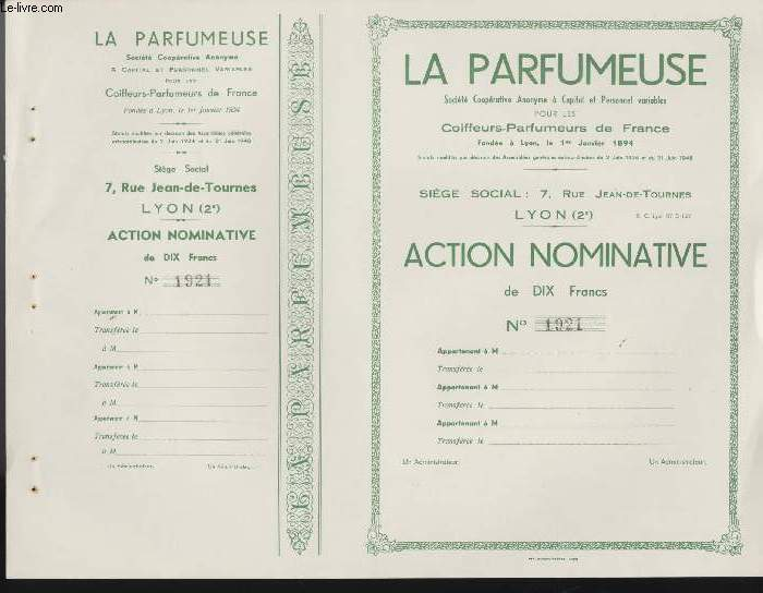 1 ACTION NOMINATIVE - LA PARFUMEUSE