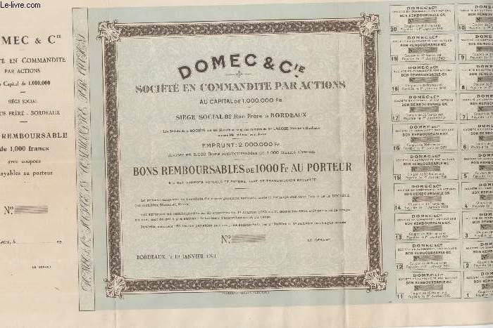 1 BON REMBOURSABLE DE 1000 FRS AU PORTEUR - DOMEC & CIE