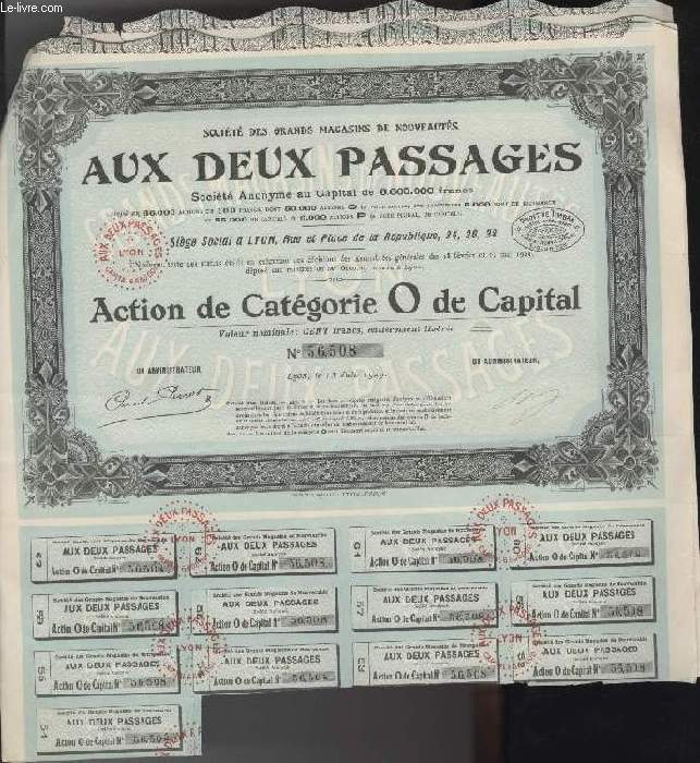 1 ACTION DE CATEGORIE O DE CAPITAL - AUX DEUX PASSAGES