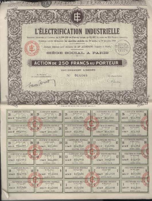 1 ACTION DE 250 FRANCS AU PORTEUR - L'ELECTRIFICATION INDUSTRIELLE