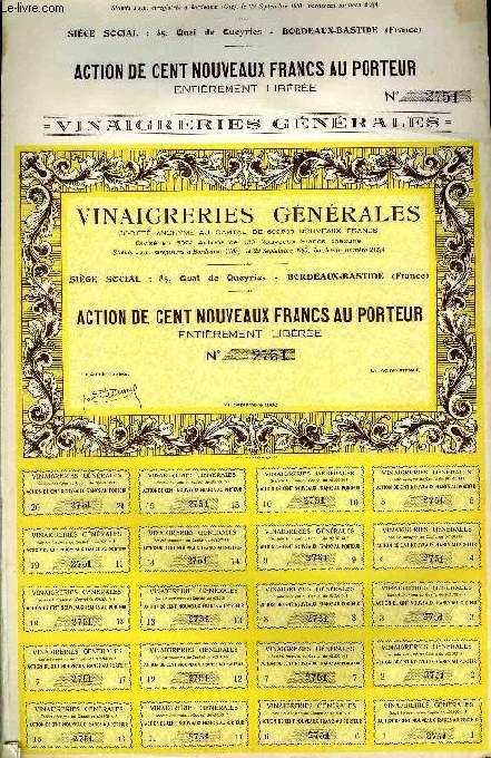 1 ACTION DE CENT NOUVEAUX FRANCS AU PORTEUR