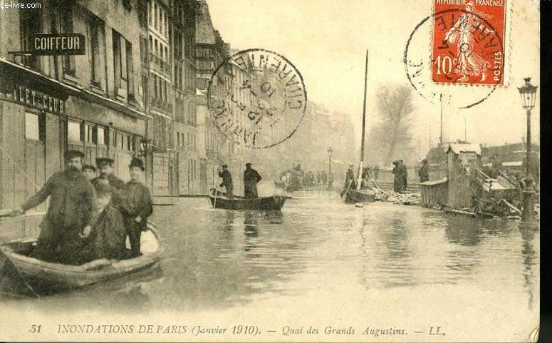 CARTE POSTALE - INONDATION DE PARIS - JANVIER 1910 - QUAI DES GRANDS AUGUSTIN