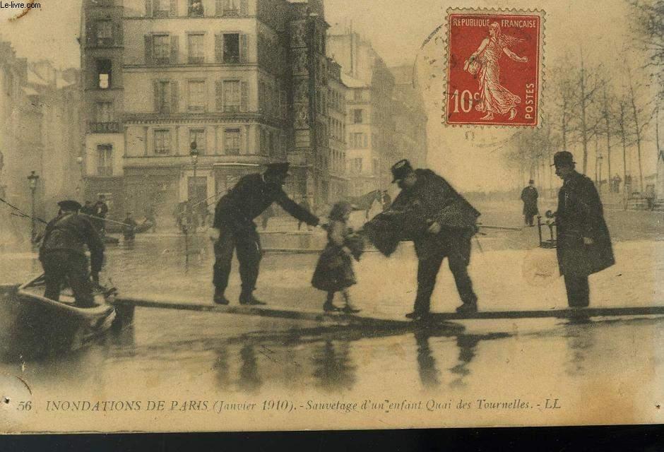 CARTE POSTALE - 56- INONDATION DE PARIS - JANVIER 1910 - SAUVETAGE D'UN ENFANT QUAI DE TOURNELLES