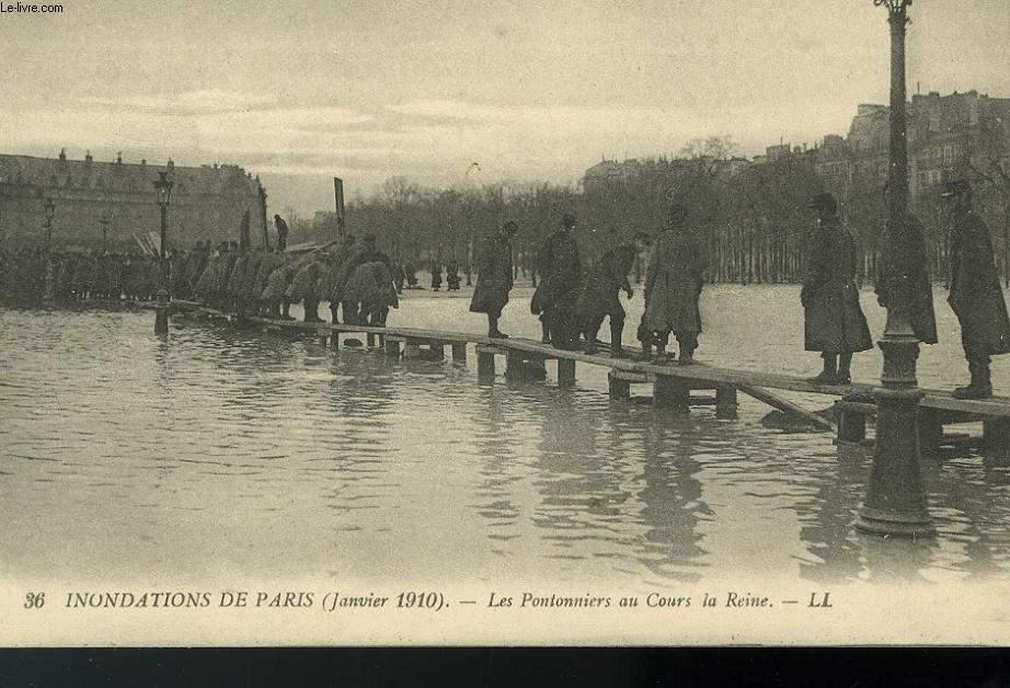 CARTE POSTALE - 36 - INONDATION DE PARIS - JANVIER 1910 - LES POMPIERS AU COURS LA REINE