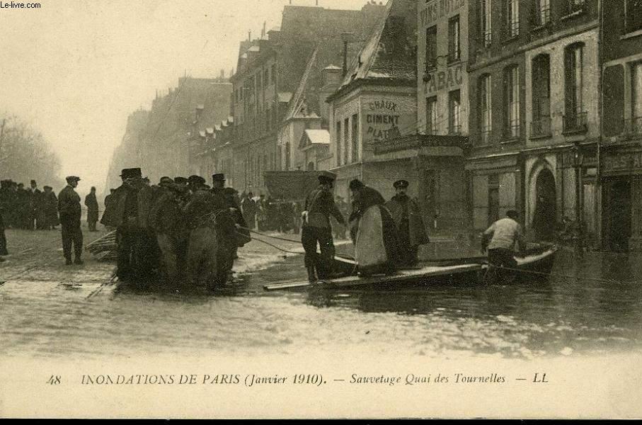 CARTE POSTALE - 48 - INONDATION DE PARIS - JANVIER 1910 - SAUVETAGE QUAI DE TOURNELLES