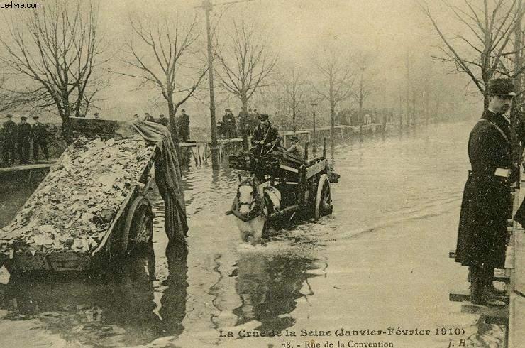CARTE POSTALE - LA CRUE DE LA SEINE - JANVIER FEVRIER 1910 - RUE DE LA CONVENTION