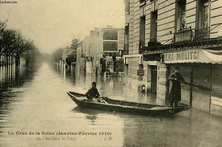 CARTE POSTALE - 91 - LA CRUE DE SEINE - JANVIER FEVRIER 1910 - AU QUAI DE PASSY