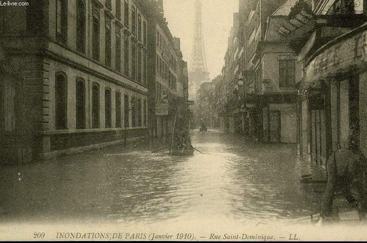 CARTE POSTALE - INONDATION DE PARIS - JANVIER 1910 - RUE SAINT DOMINIQUE