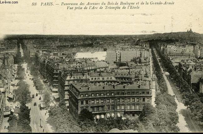 CARTE POSTALE - 88 - PARIS - PANORAMA DES AVENUES DU BOIS DE BOULOGNE ET DE LA GRANDE ARMEE