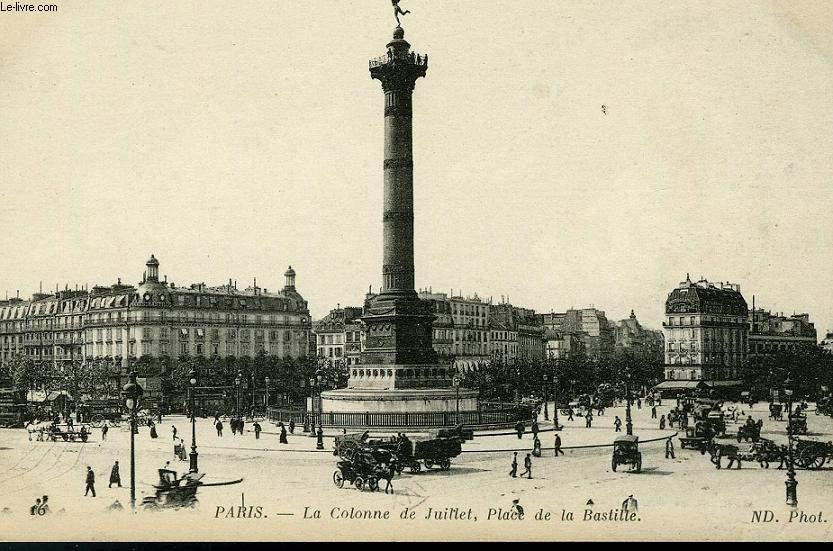 CARTE POSTALE - LA COLONNE DE JUILLET, PLACE DE LA BASTILLE