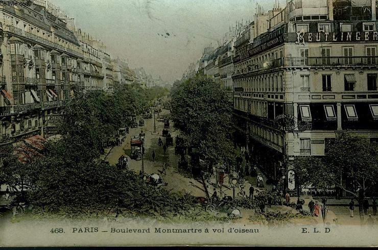 CARTE POSTALE - 468 - PARIS - BOULEVARD MONTMARTRE A VOL D'OISEAU
