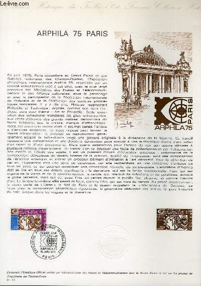 DOCUMENT PHILATELIQUE OFFICIEL N°01-71 - ARPHILA 75 PARIS - (N°1783 YVERT ET TELLIER)