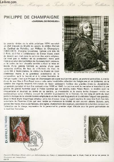 DOCUMENT PHILATELIQUE OFFICIEL N°05-74 - PHILIPPE DE CHAPAIGNE - CARDINAL DE RICHELIEU (N°1766 YVERT ET TELLIER)