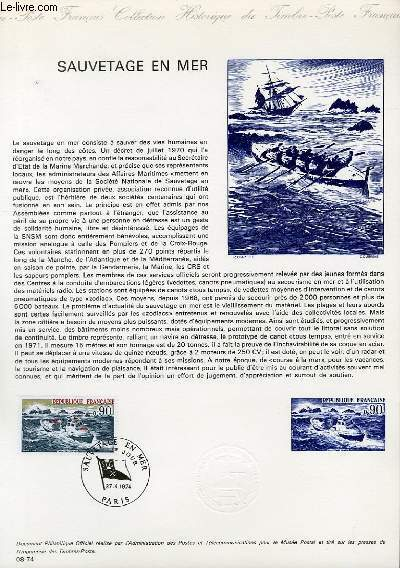 DOCUMENT PHILATELIQUE OFFICIEL N° 08-74 - SAUVETAGE EN MER (N°1791 YVERT ET TELLIER)